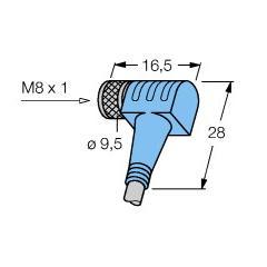 M8x1 Açılı sensör kablosu