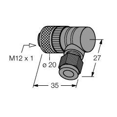 M12x1 Açılı soket